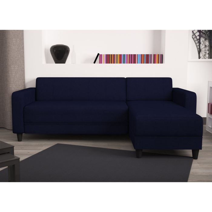 olympe canap angle r versible 4 places 100 coton bleu achat vente canap sofa divan. Black Bedroom Furniture Sets. Home Design Ideas