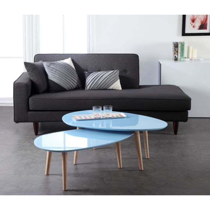 Galet table basse 98 cm laqu e bleue achat vente table - Table basse bleu ...