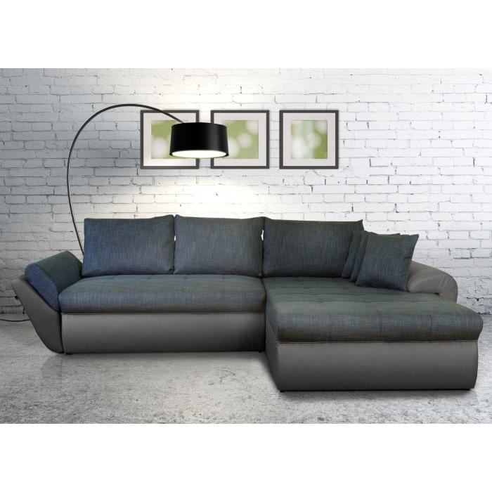 lolita canap xxl convertible lit angle droit gris bleu achat vente canap sofa divan. Black Bedroom Furniture Sets. Home Design Ideas
