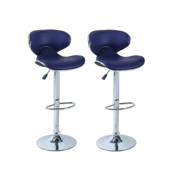 lot de 2 tabourets de bar bleu york salon salle. Black Bedroom Furniture Sets. Home Design Ideas