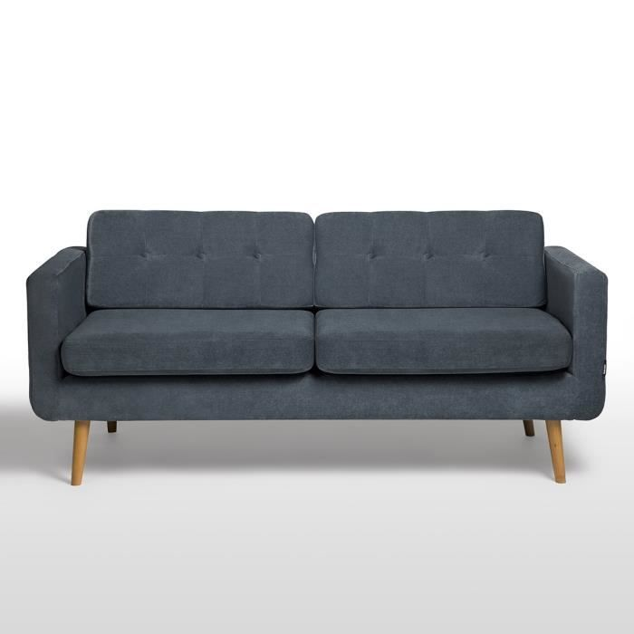 york canap fixe 3 places 185x77x86 cm tissu bleu achat vente canap sofa divan. Black Bedroom Furniture Sets. Home Design Ideas