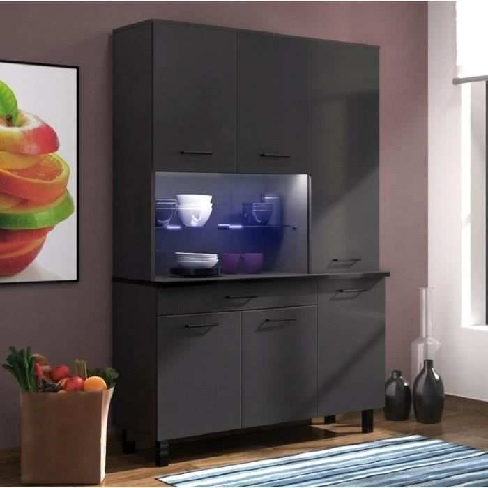 eco buffet l 120 cm noir brillant et gris anthracite brillant achat vente buffet de. Black Bedroom Furniture Sets. Home Design Ideas