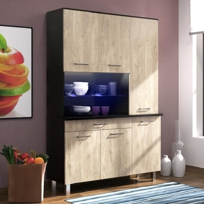 eco buffet l 120 cm noir brillant et d cor ch ne clair achat vente buffet de cuisine eco. Black Bedroom Furniture Sets. Home Design Ideas