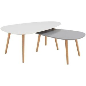 TABLE BASSE KIVI Lot de 2 tables basses gigognes scandinave bl