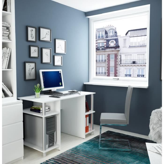 mila bureau 120 cm blanc et gris achat vente bureau mila bureau 120cm structure panneaux. Black Bedroom Furniture Sets. Home Design Ideas