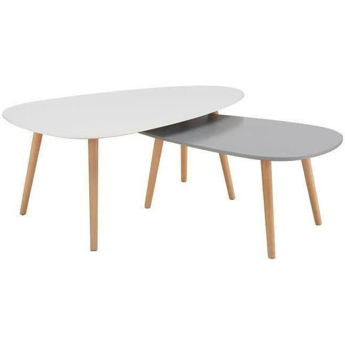 kivi lot de 2 tables basses gigognes style scandinave en mdf laqu blanc et gris mat l 98 x l. Black Bedroom Furniture Sets. Home Design Ideas
