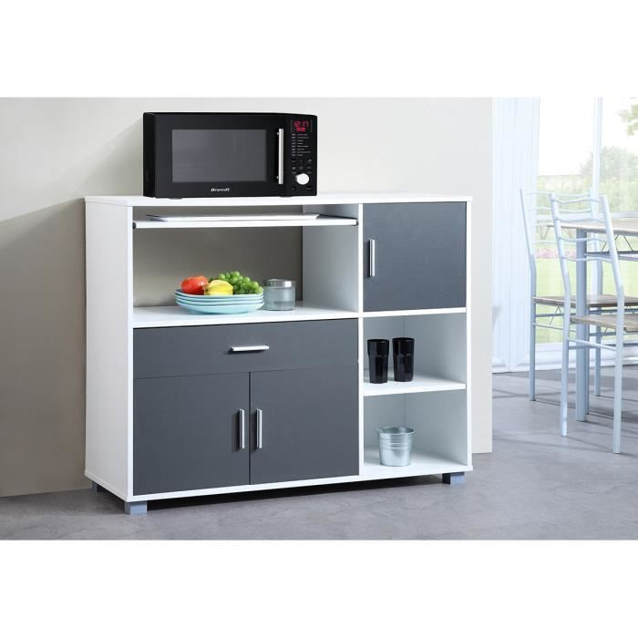 bari buffet de cuisine l 110 cm blanc et gris achat. Black Bedroom Furniture Sets. Home Design Ideas