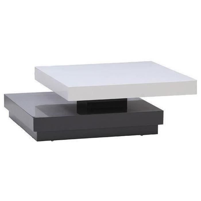 Vegas table basse carr e pivotante 75cm blanc gris achat - Table basse carree grise ...