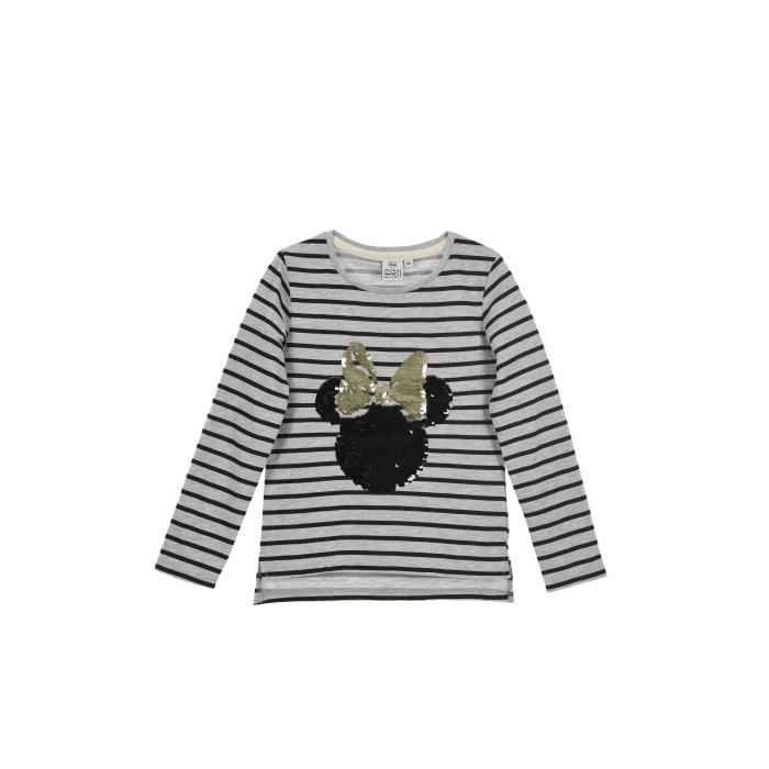 T-SHIRT DISNEY MINNIE T-shirt à Sequins Gris Clair Enfant