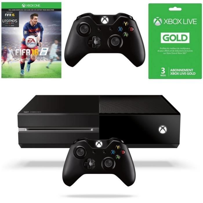 xbox one 500 go noire fifa 16 2e manette live gold 3. Black Bedroom Furniture Sets. Home Design Ideas