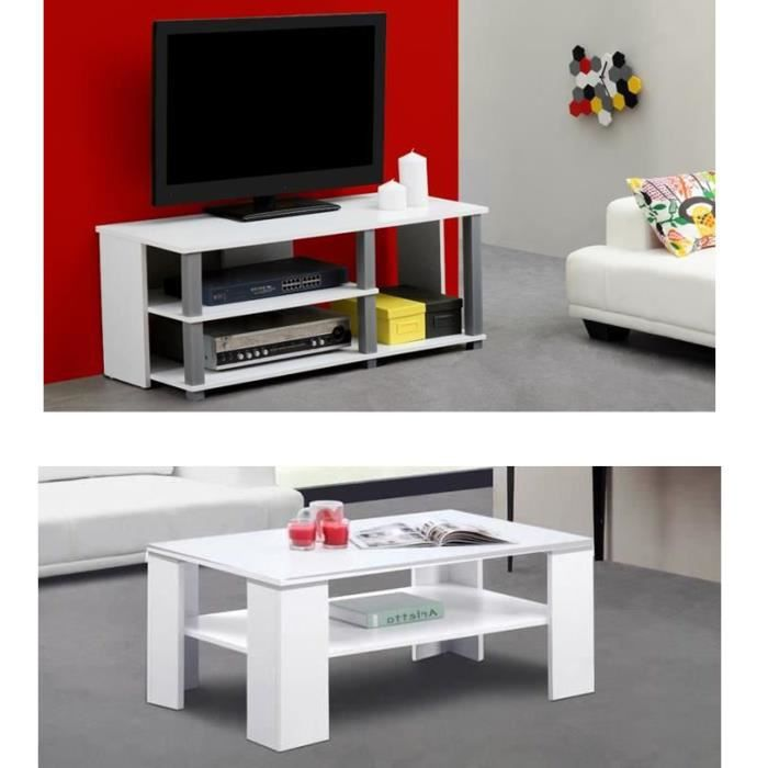 Telma salon complet blanc achat vente meuble tv meuble tv table basse - Meuble salon complet ...