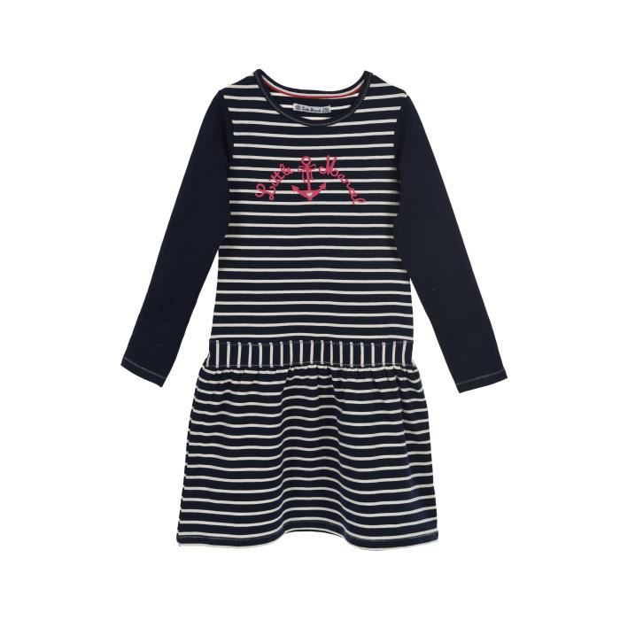 37f3cb564eea6 LITTLE MARCEL Robe Manches Longues Rayures Bleu Marine Enfant Fille ...