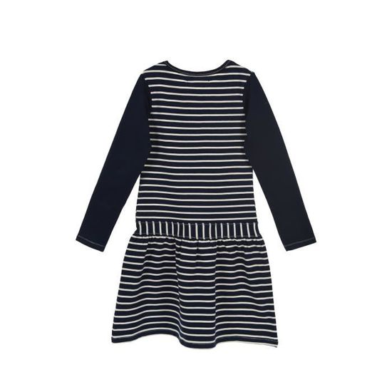 04af25b2804cd LITTLE MARCEL Robe Manches Longues Rayures Bleu Marine Enfant Fille - Achat    Vente robe - Cdiscount