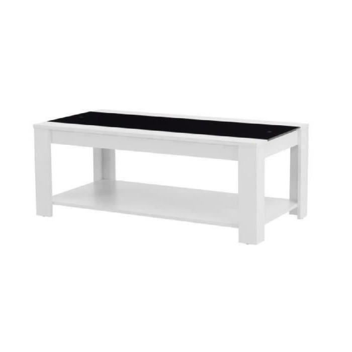 Damia Table Basse 110 Cm Blanc Et Noir Achat Vente Table Basse Damia Table Basse Blanc