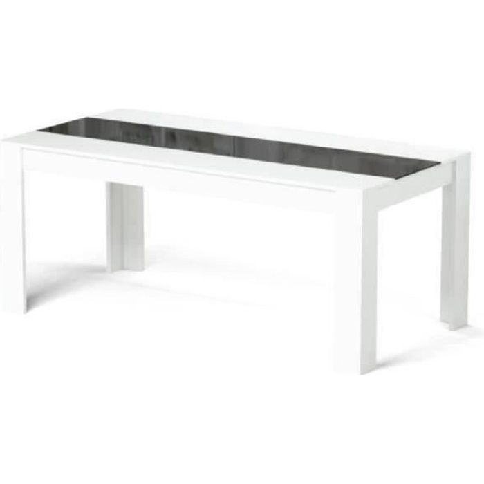 Damia table manger 180x75 cm blanc et noir achat for Table a manger noir