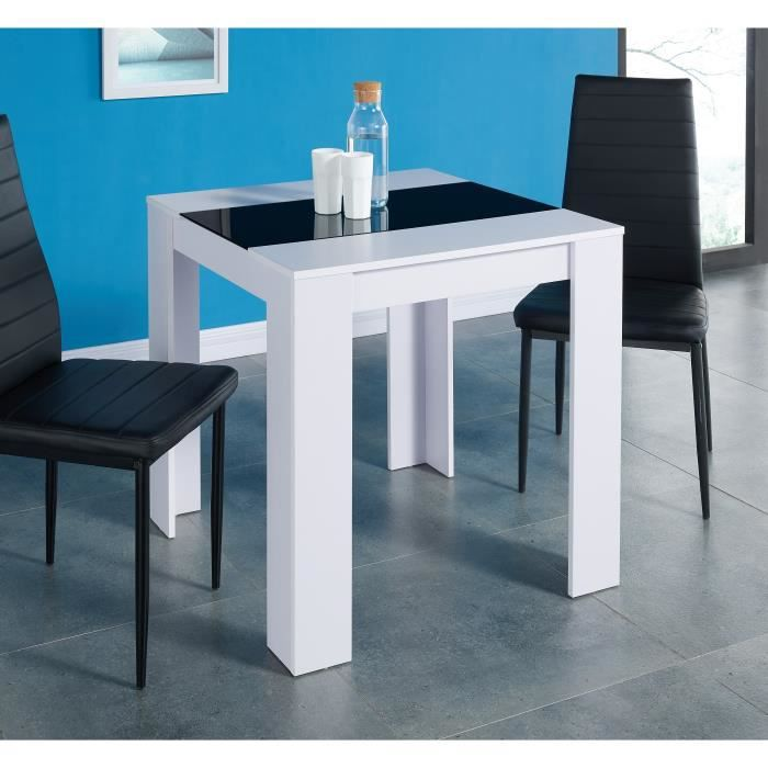 damia table manger 2 personnes 75x75 cm blanc mat et verre tremp noir achat vente table. Black Bedroom Furniture Sets. Home Design Ideas