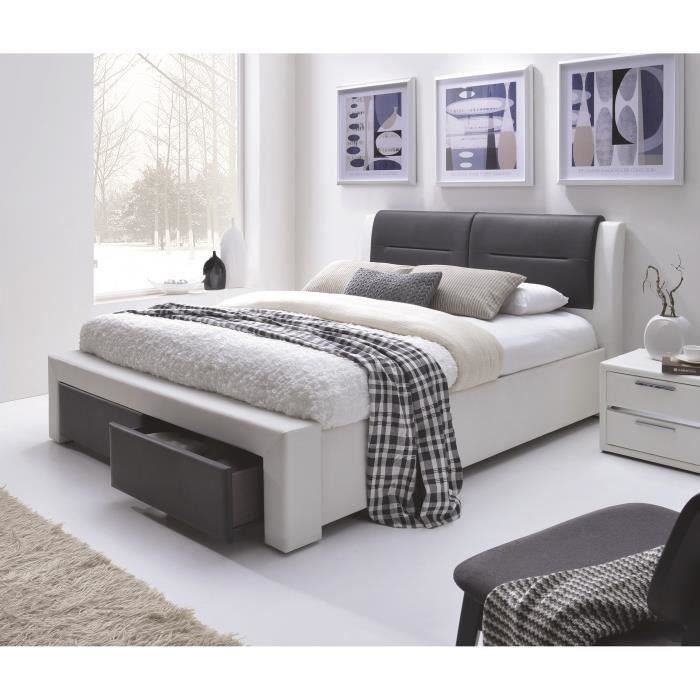 imagina lit adulte contemporain rev tement simili blanc et noir sommier l 160 x l 200 cm. Black Bedroom Furniture Sets. Home Design Ideas