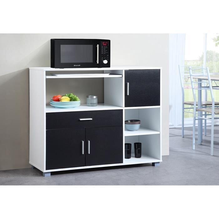 bari buffet de cuisine 110 cm blanc et noir achat vente buffet de cuisine bari buffet. Black Bedroom Furniture Sets. Home Design Ideas