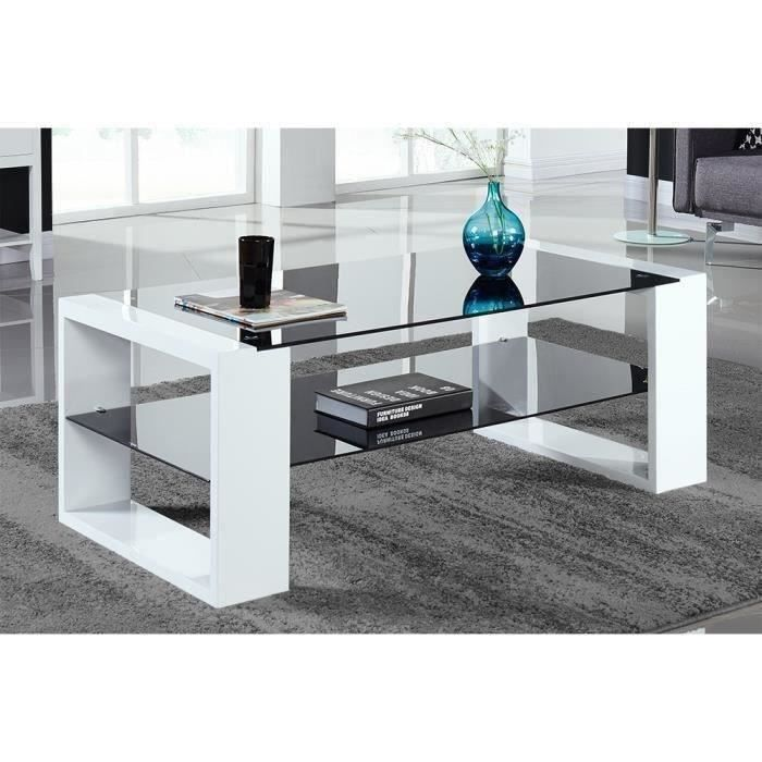 vera table basse contemporain en verre laqu noir et blanc l 120 x l 60cm achat vente. Black Bedroom Furniture Sets. Home Design Ideas