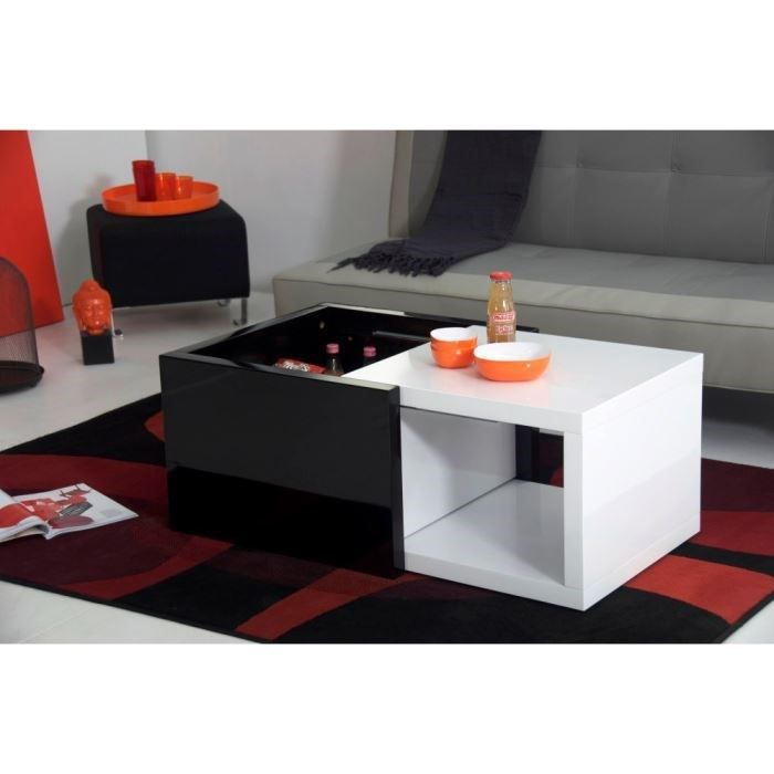 box table basse blanche et noire extensible achat. Black Bedroom Furniture Sets. Home Design Ideas
