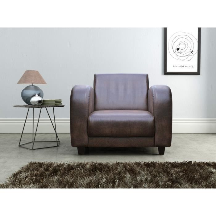 jaipur fauteuil club aspect cuir vieilli achat vente. Black Bedroom Furniture Sets. Home Design Ideas