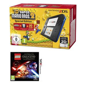 CONSOLE 2DS 2DS Bleue + New Super Mario Bros 2 + LEGO Star War