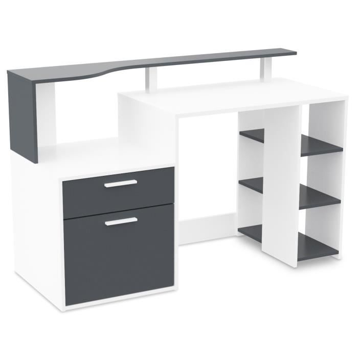 oracle bureau 140 cm blanc gris achat vente bureau oracle bureau 140 cm bois agglom r. Black Bedroom Furniture Sets. Home Design Ideas