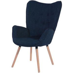 FAUTEUIL VIGGO Fauteuil - Tissu bleu - Style scandinave - L