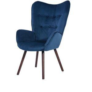 FAUTEUIL VIGGO Fauteuil - Tissu velours bleu foncé - Style