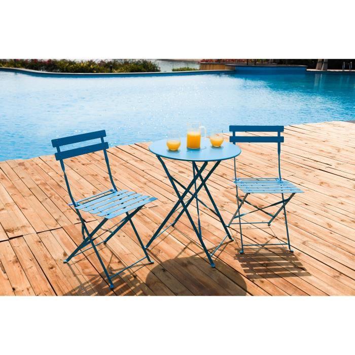 Ensemble table et chaise de jardin FINLANDEK - Set bistrot table avec 2 chaises - Ble