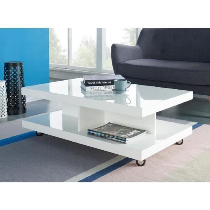 Rollup table basse sur roulettes 100x60 cm laqu blanc - Table basse laque blanc brillant ...