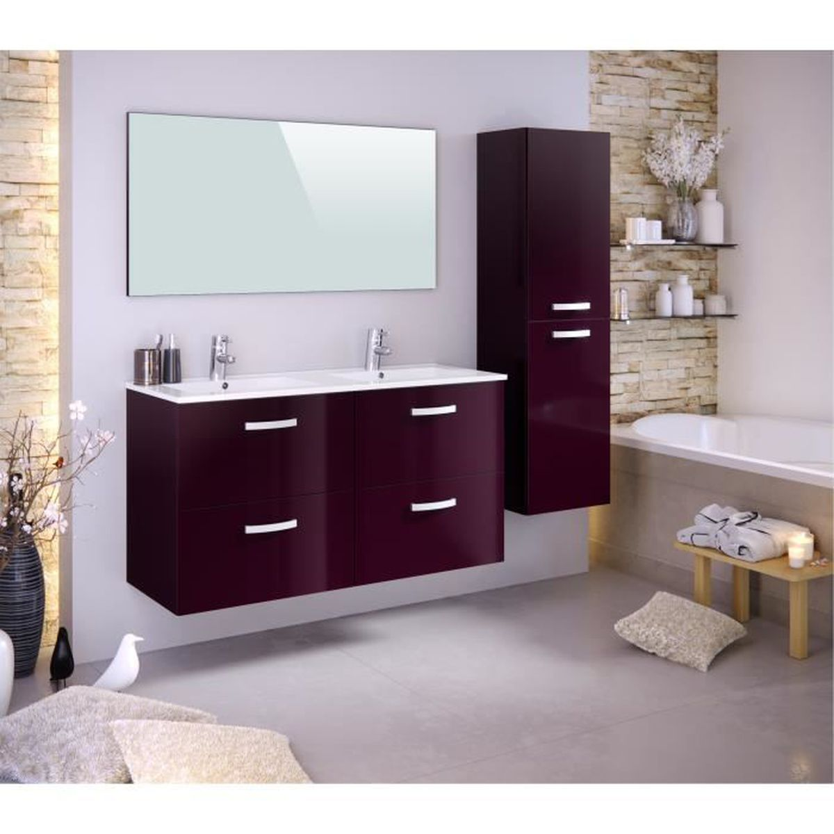 stella ensemble salle de bain double vasque l 120 cm avec colonne et miroir laqu aubergine. Black Bedroom Furniture Sets. Home Design Ideas