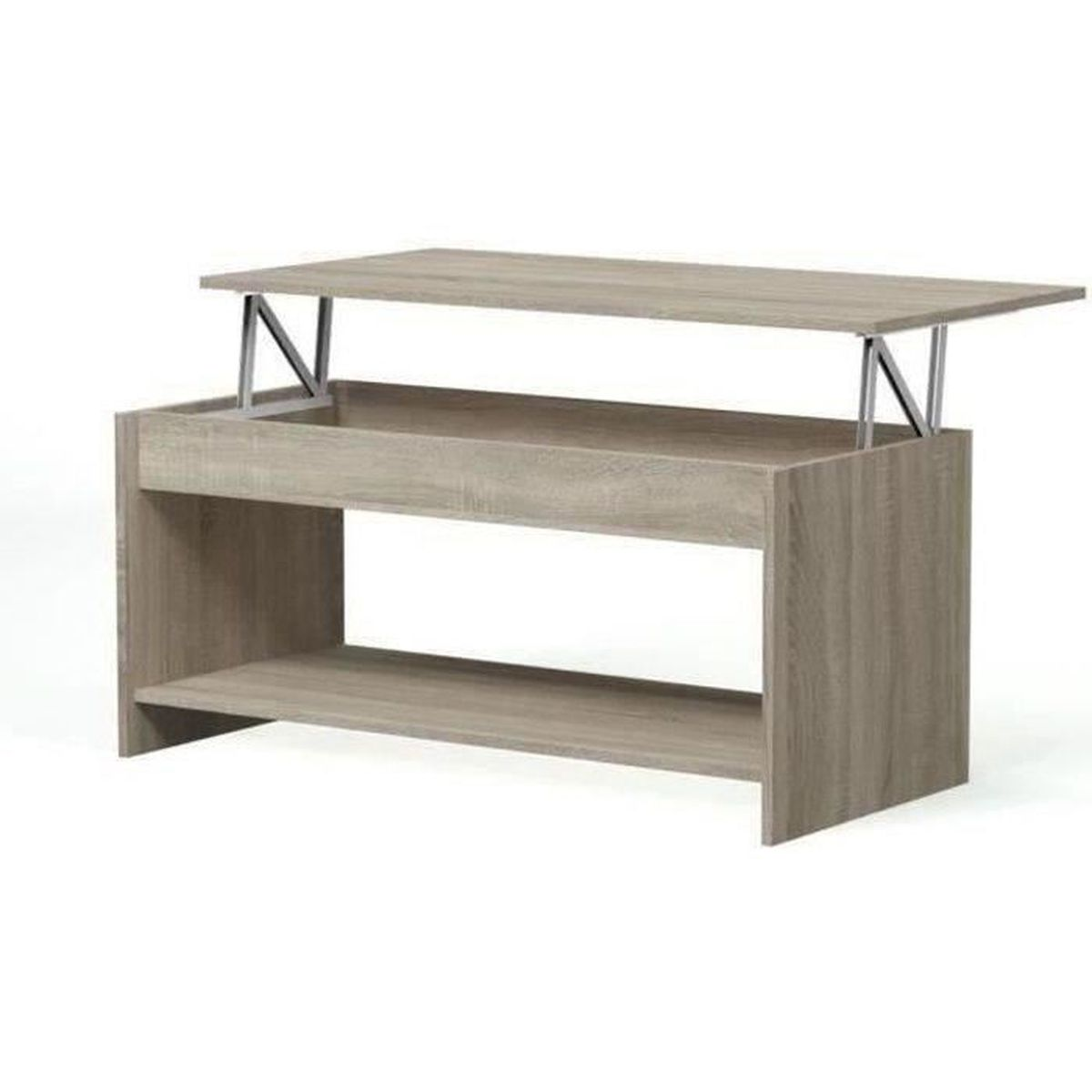 Happy table basse transformable 100x50 cm lamin ch ne for Table basse manger transformable