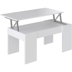 TABLE BASSE SWING Table basse transformable 100x50 cm - Blanc