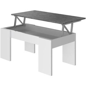TABLE BASSE SWING Table Basse relevable - Blanc et gris - L 10