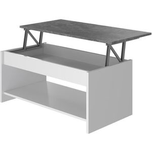 TABLE BASSE HAPPY Table Basse relevable - Blanc et gris - L 10