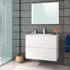 waves ensemble salle de bain l 80 cm simple vasque