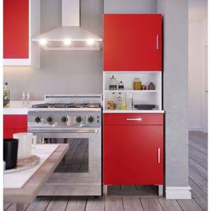 BUFFET DE CUISINE ECO Buffet de cuisine L 60 cm - Rouge et blanc mat