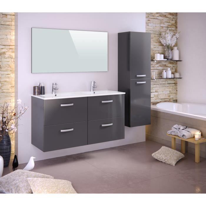 Meuble salle de bain bois gris