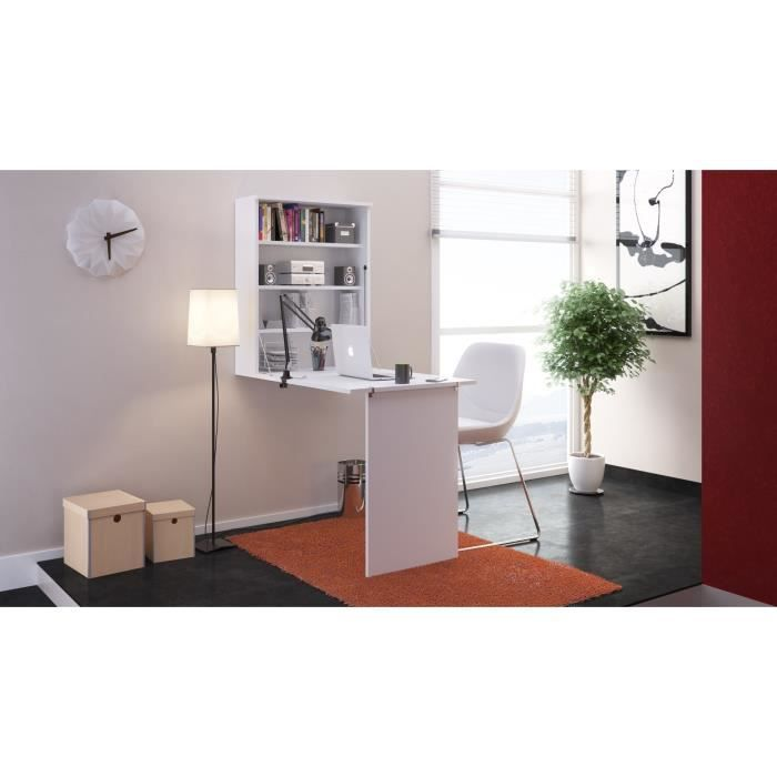 Small bureau rabattable contemporain blanc l 150 cm for Meuble bureau 64