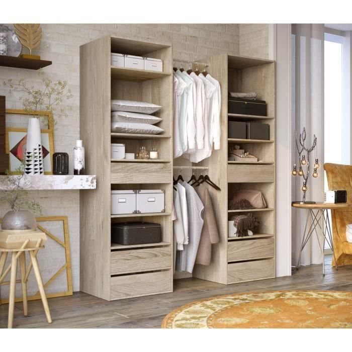 combi kit dressing 2 colonnes 2 barres de penderie contemporain d cor ch ne clair l 80 cm. Black Bedroom Furniture Sets. Home Design Ideas