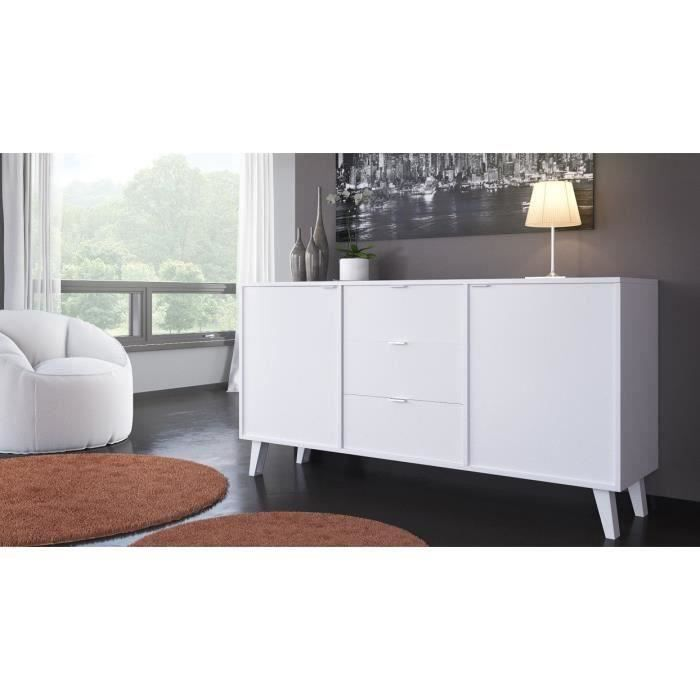 sun buffet contemporain blanc brillant l 180 cm achat. Black Bedroom Furniture Sets. Home Design Ideas
