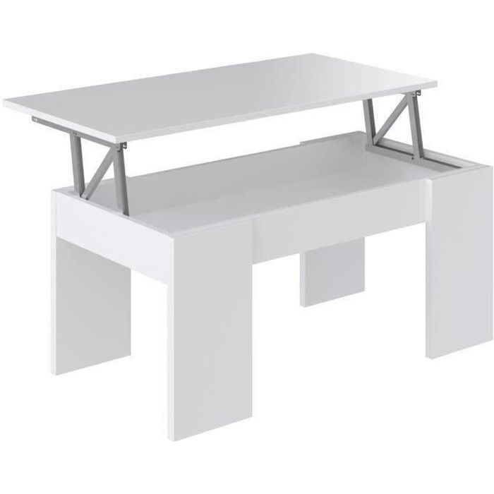 swing table basse transformable style contemporain blanc mat l 100 x l 50 cm achat vente. Black Bedroom Furniture Sets. Home Design Ideas
