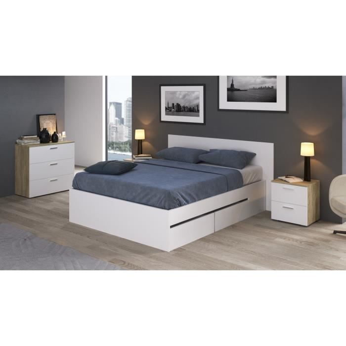 tracy lit adulte contemporain m lamin blanc l 140 x l 190 cm achat vente structure de lit. Black Bedroom Furniture Sets. Home Design Ideas