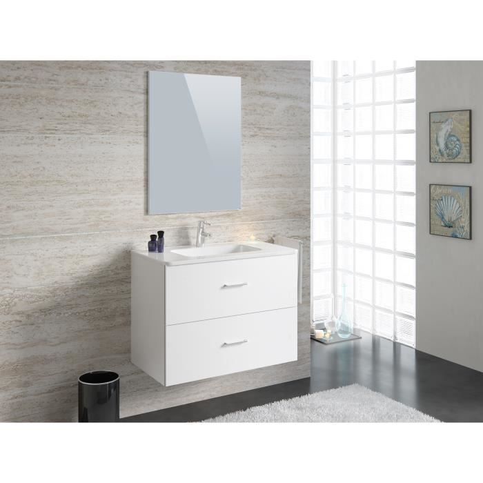 party salle de bain compl te simple vasque 80 cm blanc brillant achat vente salle de bain. Black Bedroom Furniture Sets. Home Design Ideas