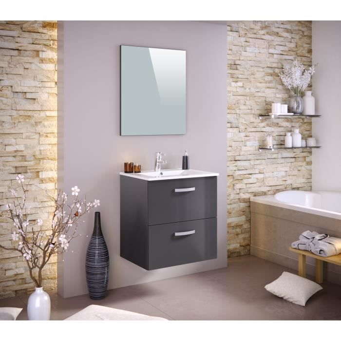 stella ensemble salle de bain simple vasque l 60 cm tiroirs soft close miroir gris laqu. Black Bedroom Furniture Sets. Home Design Ideas