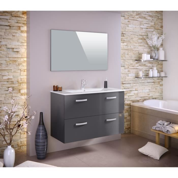 Stella ensemble salle de bain simple vasque l 100 cm tiroirs soft close miroir gris laqu - Vasque salle de bain 100 cm ...