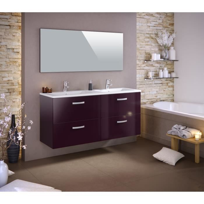 stella ensemble salle de bain double vasque l 140 cm laqu aubergine brillant achat vente. Black Bedroom Furniture Sets. Home Design Ideas