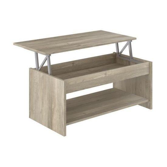 Happy Table Basse Transformable Style Contemporain Laminé Chêne Sonoma L 100 X L 50 Cm