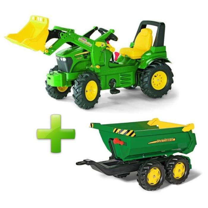 106cade9286a17 ROLLY TOYS Tracteur à Pédales John Deere + Remorque Rolly Half Pipe Class
